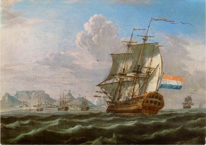 Dutch ships docking in Cape Colony, Table Bay in 1762