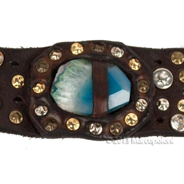 GAETANO-Wide-Studded-Leather-Bracelet-Blue-4