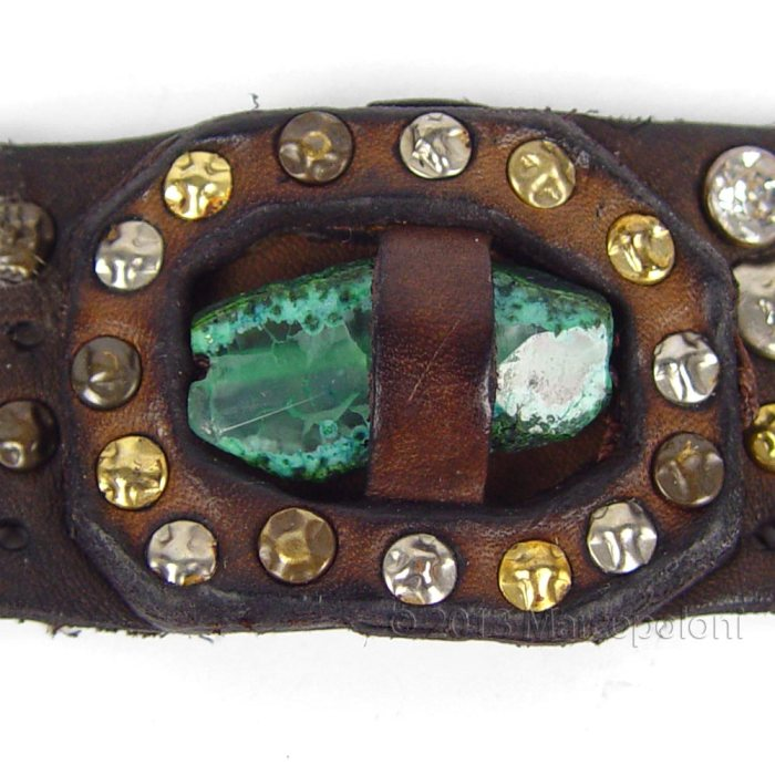 GAETANO-Wide-Studded-Leather-Bracelet-Green-3