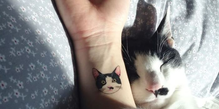 Cute-Cat-Face-Tattoo-On-Right-Wrist