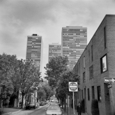 Black and White Society Hill Towers