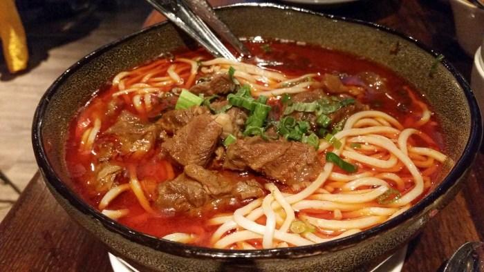Spicy Sichuan Beef Noodle Soup at Dan Dan