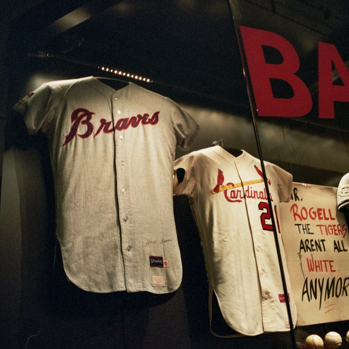 Jerseys for Henry Aaron and Curt Flood