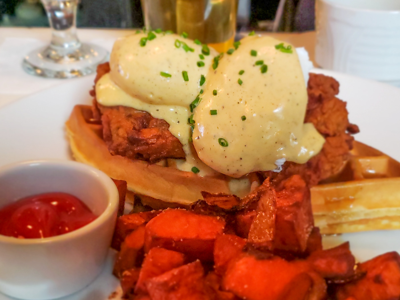 Chicken and Waffles Benedict at Rex1516