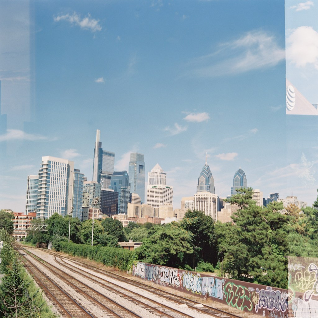 Train Tracks and Philly Skyline