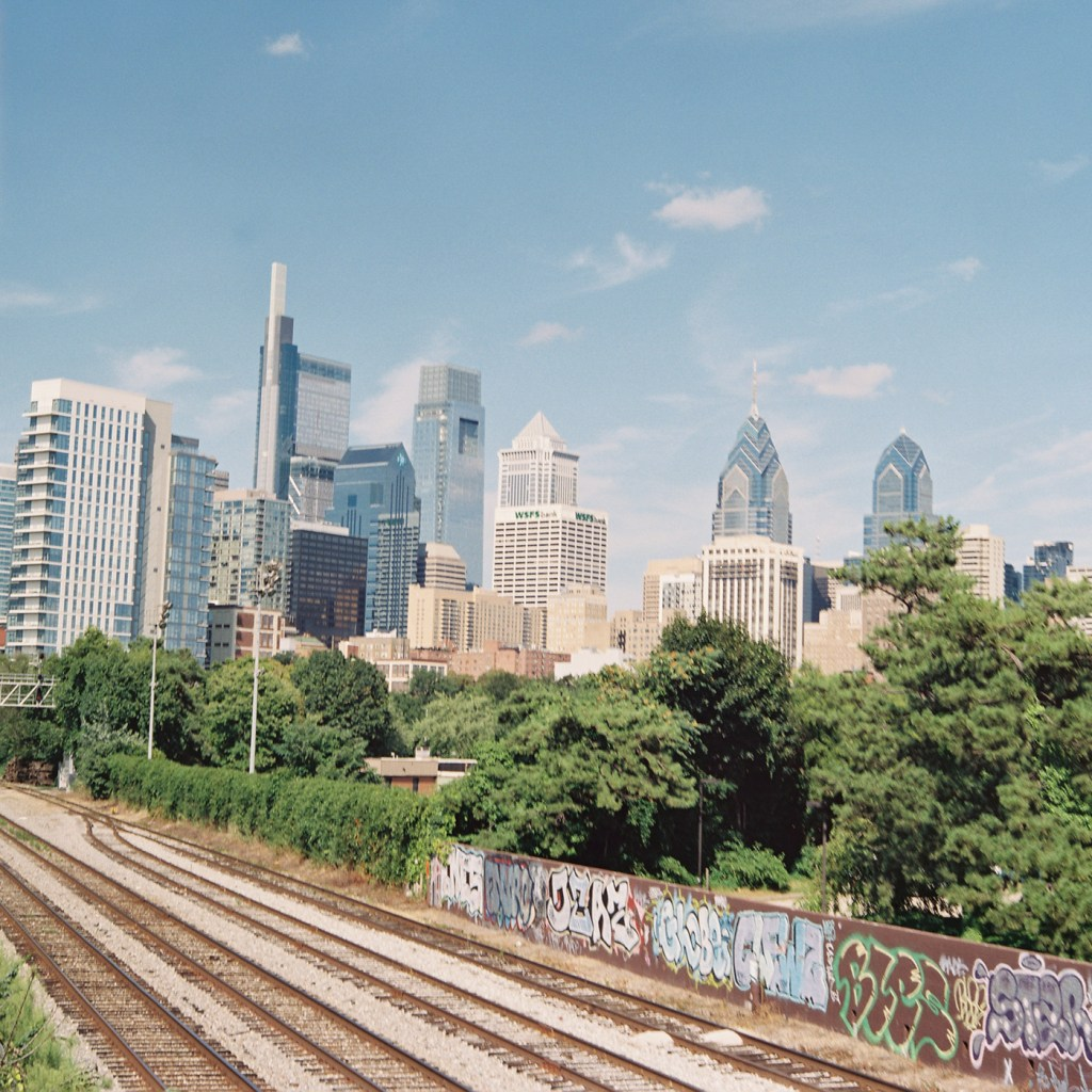 Train Tracks and Philly Skyline - Cropped