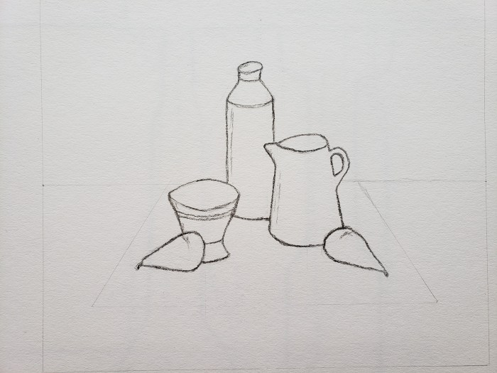 Bottle, Cup, and Vase with Pears