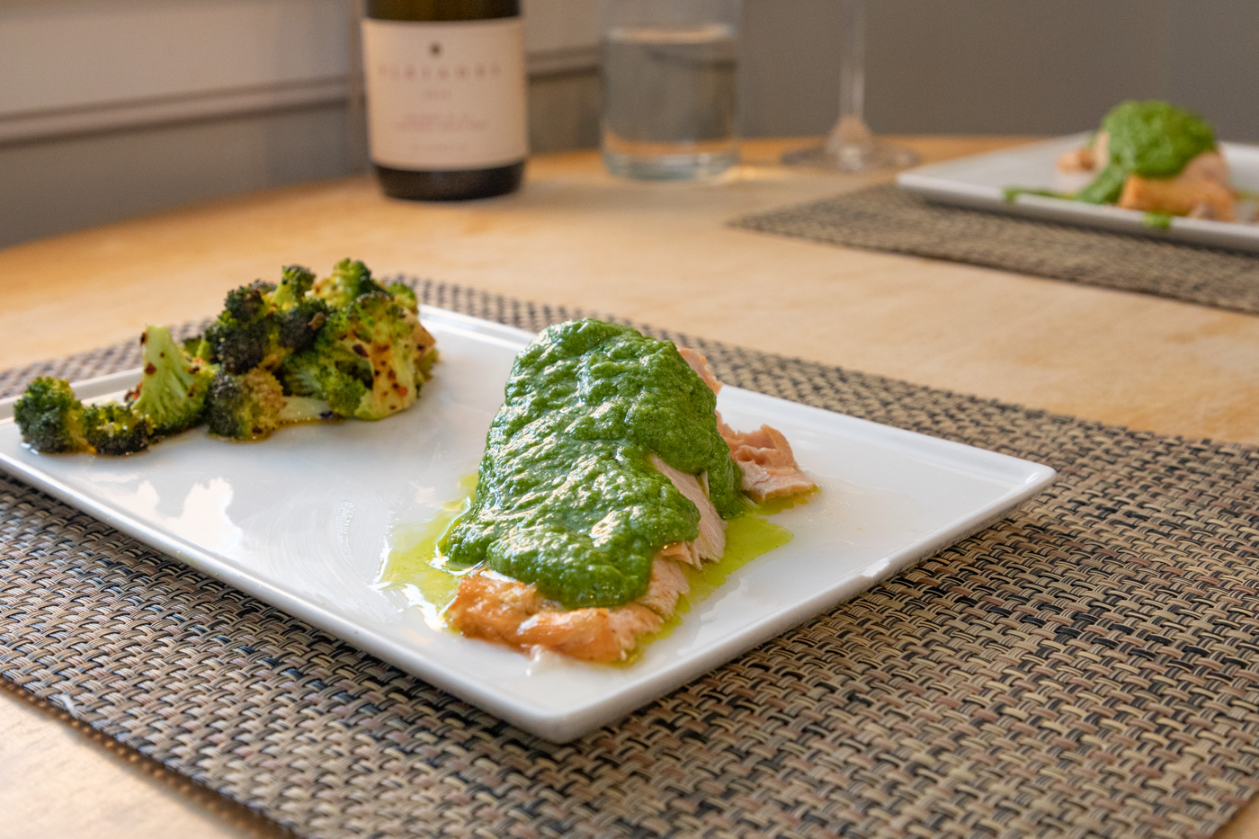Salmon with Arugula Pistou and Broccoli