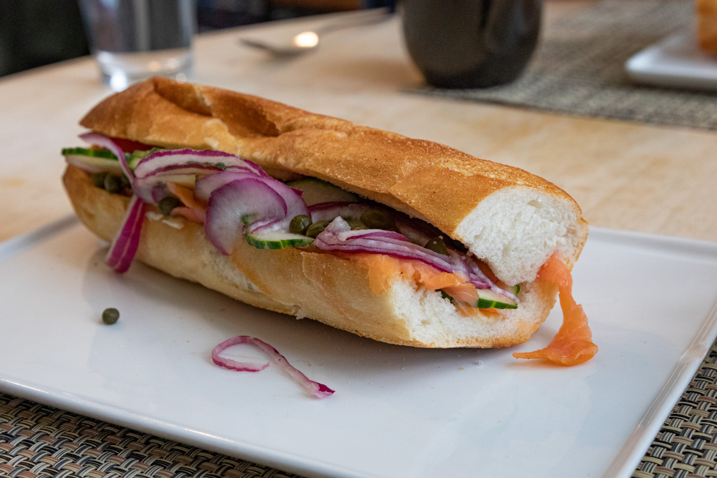 Lox, Tomato, Cucumber, Onion, Capers Sandwich from Cafe Lutecia