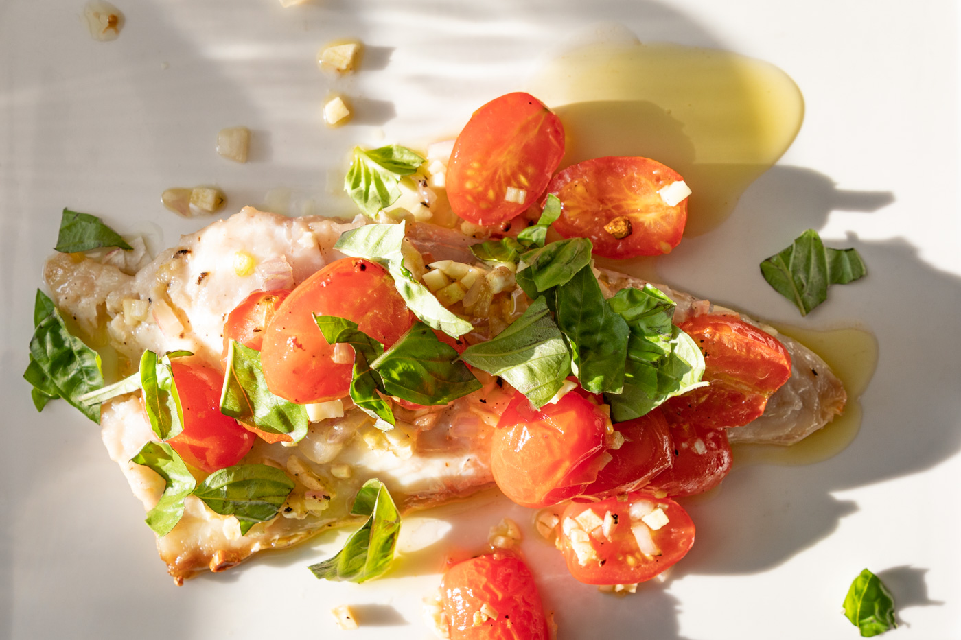 Red Snapper with Tomatoes, Garlic, and Basil