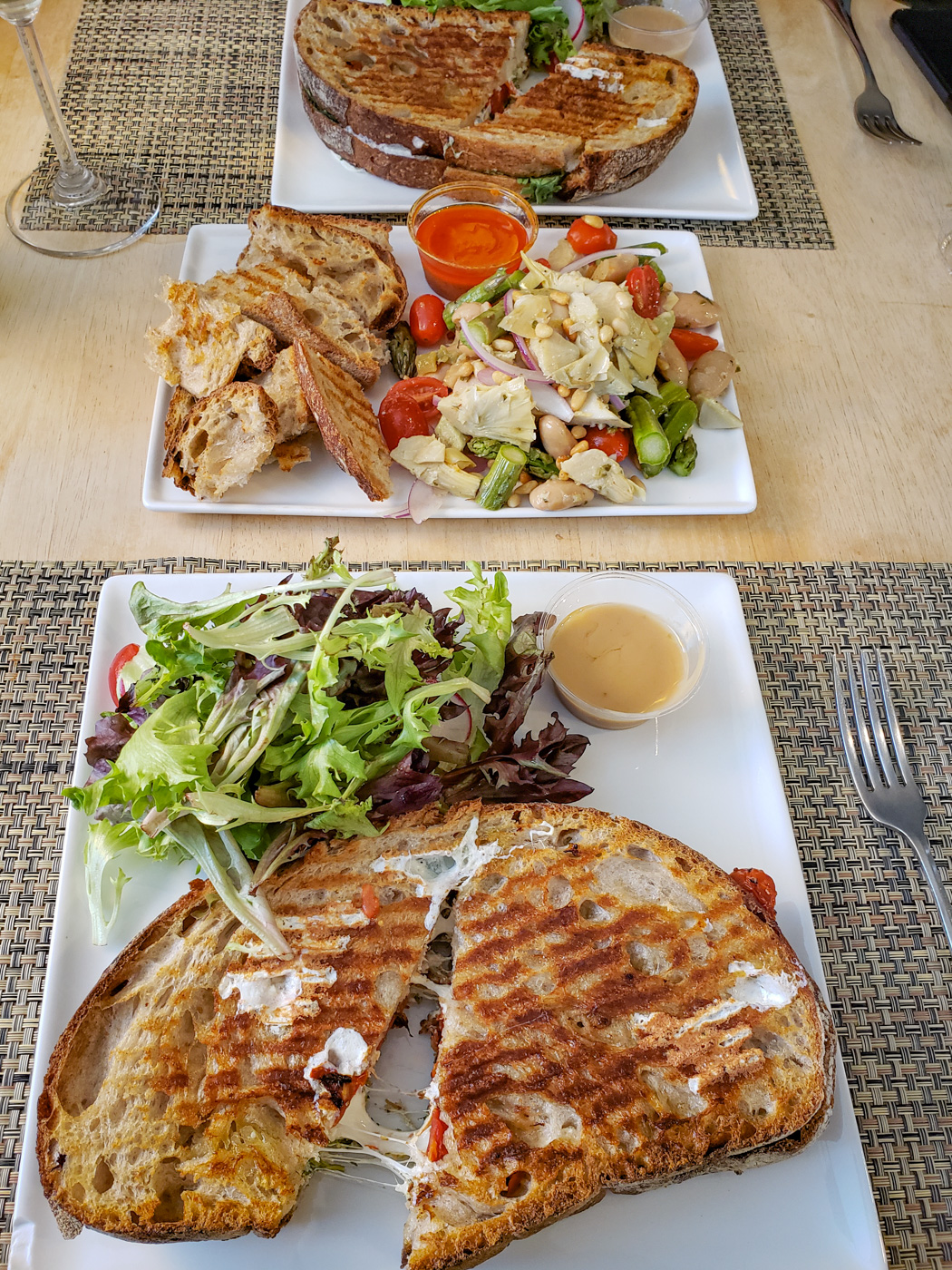 Claudio Mozzarella Panino and Artichoke and Asparagus Salad