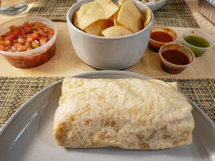 Carnitas Burrito and Chips and Salsas from Loco Pez