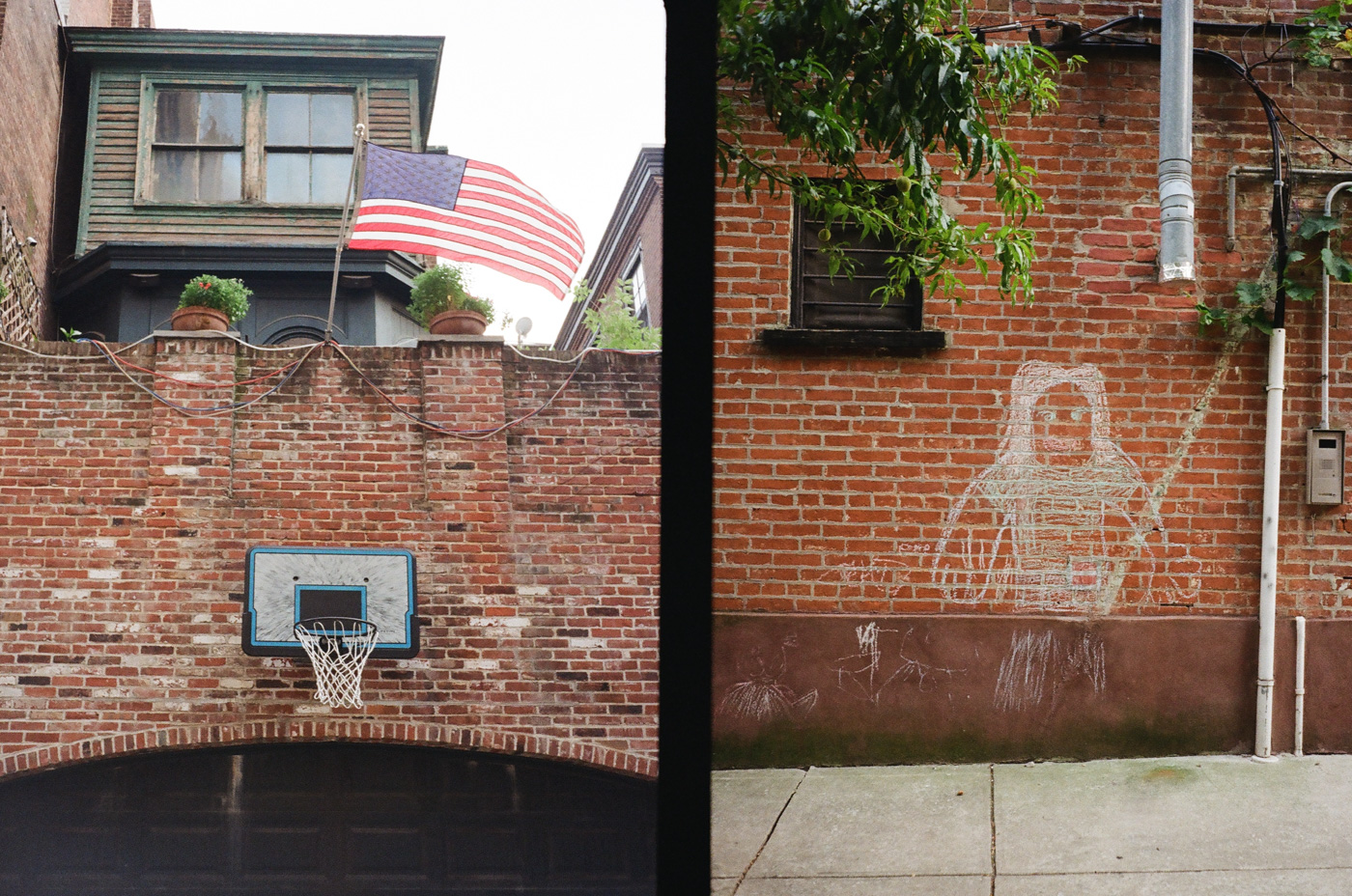 Basketball Hoop and Chalk Drawing