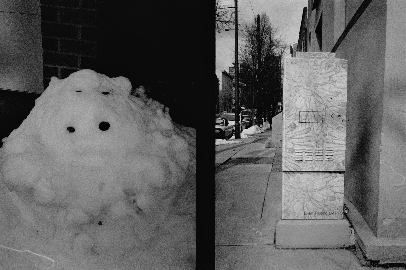 Snow Pile and Decorated Utility Box