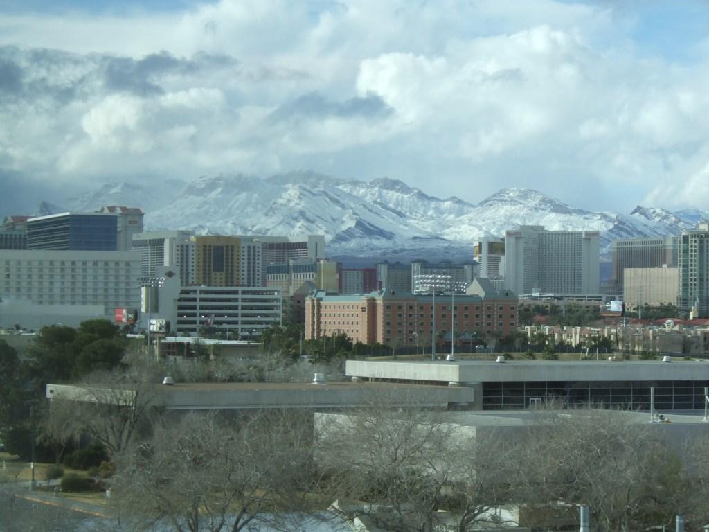 Snow on Mountains Beyond the Strip