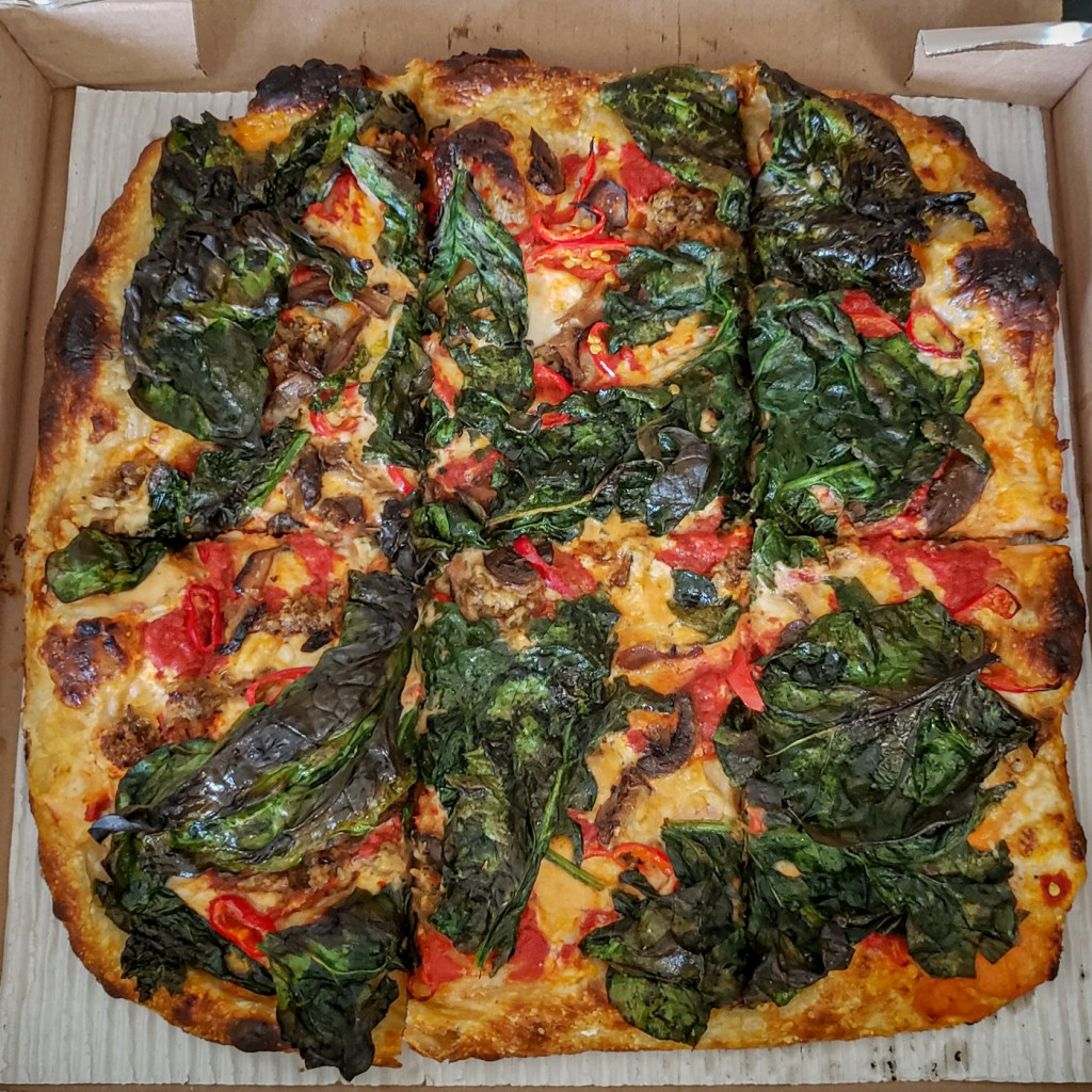 Grandma Pizza with Hot Peppers, Mushrooms, Vegan Sausage, and Spinach