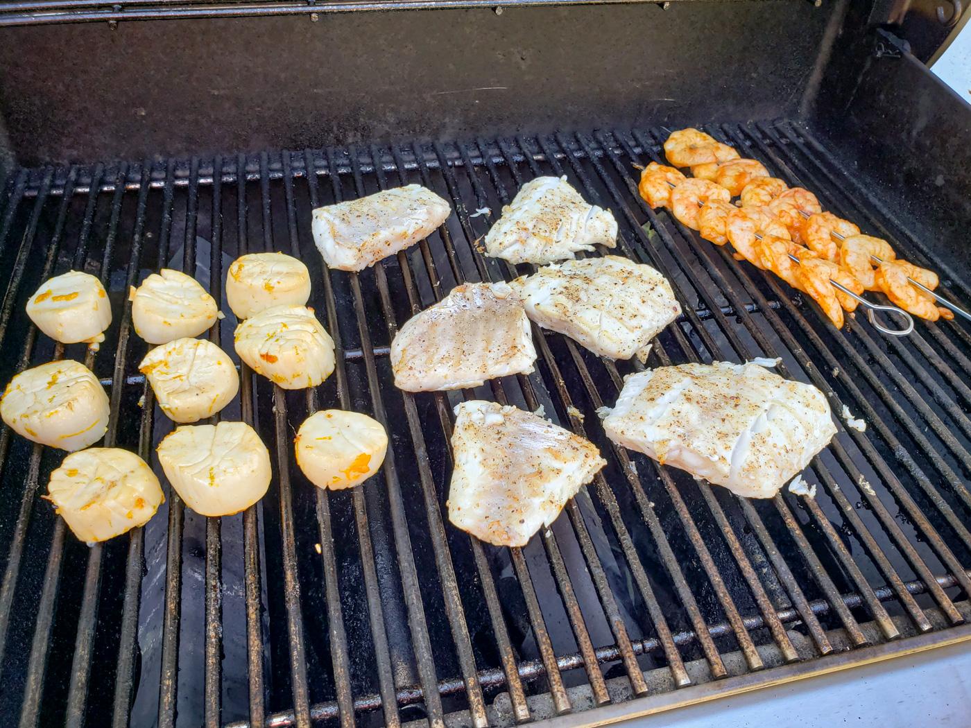 Grilling Scallops, Tilefish, and Shrimp