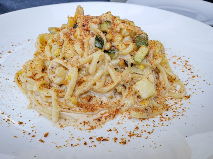 Crab and Summer Vegetable Pasta at L'Anima