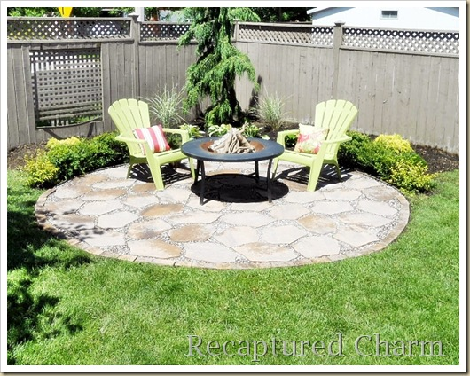 fire pit backyard makeover