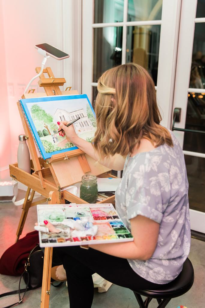 live event painting merrimon wynne - Merrimon-Wynne House Painting by Ashley Triggiano, thiscreativenest.com - custom artwork and live wedding painting