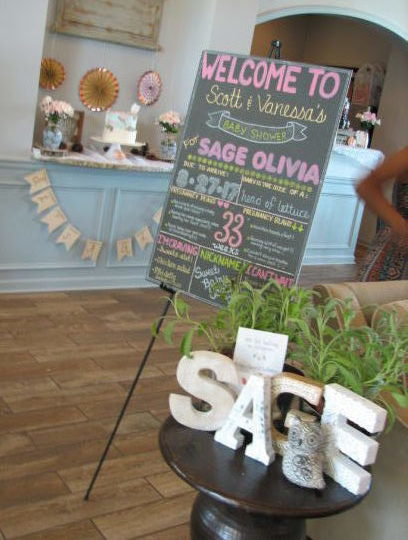 Baby shower intro sign