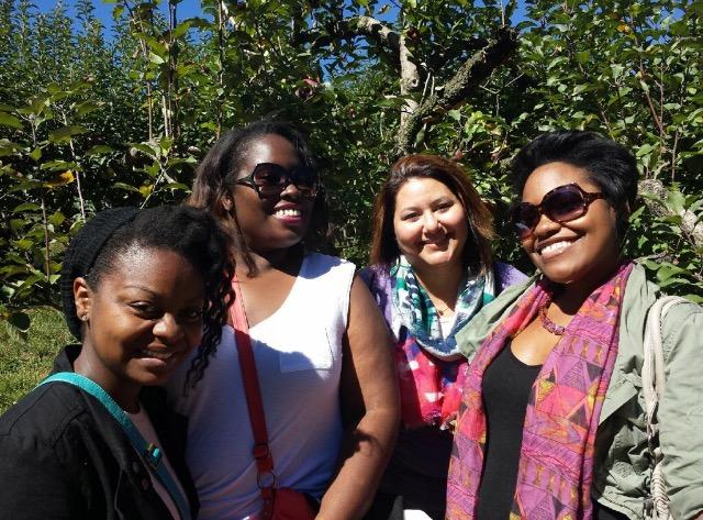 Friends apple picking