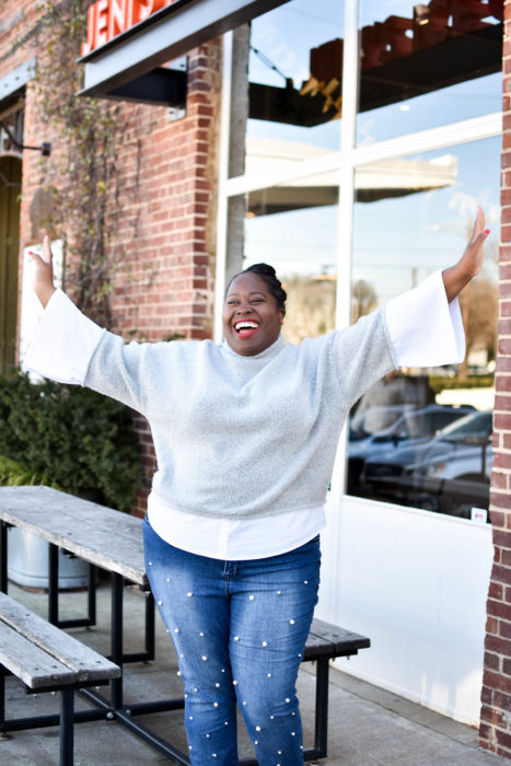 Sweater & Pearl Embellished Jeans Plus Size