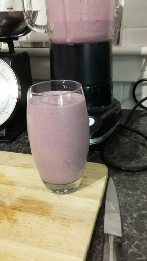 This Dad Does berry protein smoothie finished