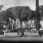 Italy's King Humbert is among the fans who witness the Chicagos beat the All-Americans, 3-2, outside of Rome at the Villa Borghese. Originally billed as the Spalding's Australian Baseball Tour, the trip is expanded to include contests in Europe, much to the surprise of the captive players aboard ship en route to the Land Down Under.