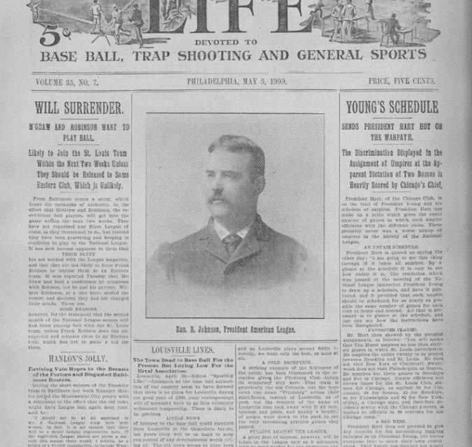Sporting Life, the U.S.'s oldest baseball publication, begins its 21st year. It will close duringWorld War I.