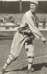 """Portrait of Jack Coombs, pitcher for the Philadelphia Athletics. Stamped on back: """"Charles M. Conlon, Evening Telegram, New York."""" Handwritten on back: """"Jack Coombs, Athletics, 1908."""