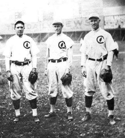 """Chicago Cubs' famed double play combination of """"Tinker to Evers to Chance"""" makes its final appearance together in a major league game"""