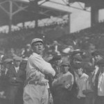 In a game which purposely matches the superstars, Boston hurler Smokey Joe Wood bests Senators' legend Walter Johnson, 1-0, for his 30th (14th consecutive) victory in a season in which he will win 34. The Red Sox' only run is a result of back-to-back doubles by Tris Speaker and Duffy Lewis; the first two-bagger should have been an easy fly out, but the ball lands into an area cordoned off by a rope to section off the overflow Fenway Park crowd.