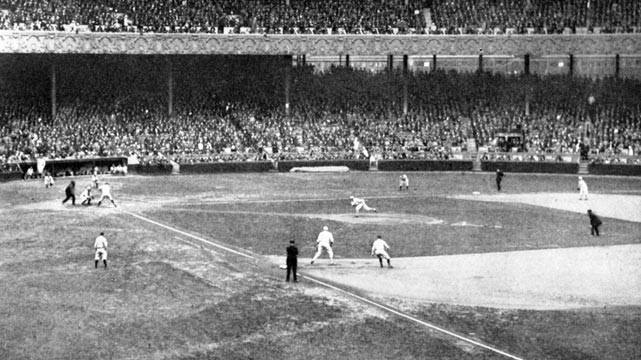 1922– TheYankeesplay their farewell home game in thePolo Grounds. An estimated 40,000 overflow the stadium with another 25,000 turned away.Joe Bushbeats thePhiladelphia A's, 10 – 3, in the opener, andWaite Hoytedges the A's in the second, 2 – 1. Plans are in the works to expand the park to 56,000 capacity, but this is the last regular seasonAmerican Leaguegame at the Polo Grounds. The Yanks will play their next 18 games on the road, and then open inYankee Stadiumnext spring.