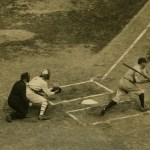 Babe Ruth strikes out in his first at-bat of 1922 World Series, at The Polo Grounds, October 4, 1922.