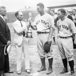 Sportsman's Park, St Louis: Lou Gehrig accepts trophy for playing in then-record 1,308th consecutive game, passing Everett Scott (now 3rd all-time) - L-R AL prez William Harridge; Sporting News editor EG Brands; Joe Sewell, who played in 1103 straight (7th all-time)