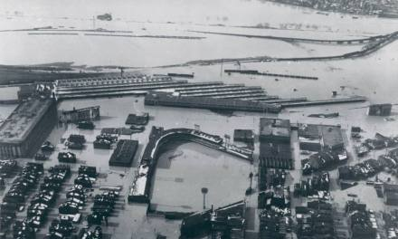 Heavy rains in Cincinnati had caused the flood, burying home plate at Crosley Field under 20 feet of cold water.