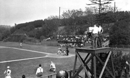 """The first baseball game ever televised –PrincetonagainstColumbiaat theBaker Bowl– is watched by a handful of viewers viaW2XBSinNew York City.Bill Sternannounces the ten-inning victory of visiting Princeton, 2 – 1. Reviewing the game the next day, theNew York Timesreports: """"it is difficult to see how this sort of thing can catch the public fancy."""""""