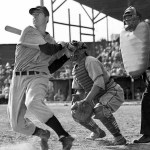 New York YankeesoutfielderJoe DiMaggio, a holdout and late arrival inspring training, plays his firstexhibition game.