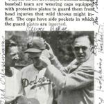 Dodgers debut protective head gear 1941