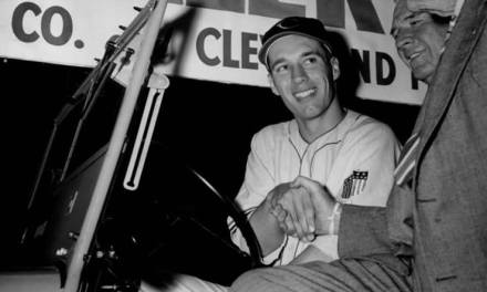 Bob Feller of the Cleveland Indians makes his first appearance since his return from military duty