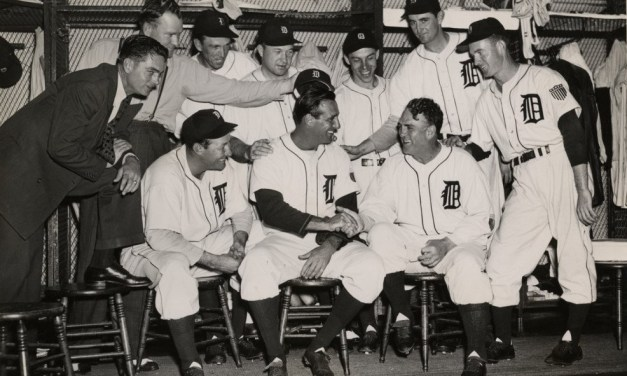 Just back from duty in World War II Hank Greenberg hits a dramatic ninth inning grand slam home run to give the Detroit Tigers the win
