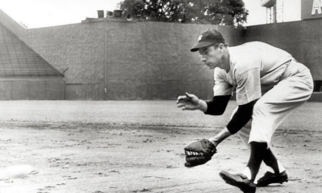Joe DiMaggioplays firstbase for only time in his career