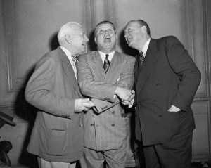 1951 Hall of Fame Induction.. Tris Speaker and Ty Cobb welcome the newest Cooperstown resident..Jimmie Foxx