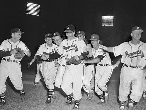 Vern Bickford, throwing just 97 pitches, no-hits the Dodgers at Braves' Field, 7-0. The 29 year-old right-hander hurls the first hitless game for Boston since Jim Tobin accomplished the feat, also against Brooklyn, on April 27, 1944.