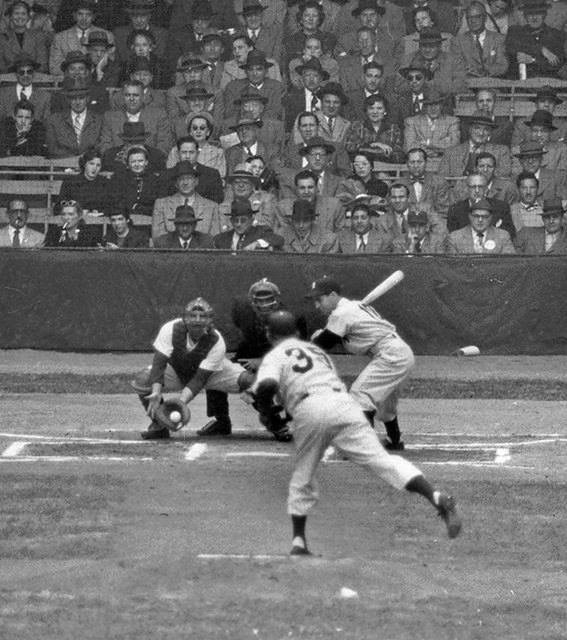 Relief ace Jim Konstanty of the Philadelphia Phillies starts and loses Game 1 of the World Series to Vic Raschi and the New York Yankees|Yankees, 1 – 0. Bobby Brown hits a double and scores the lone run on two long flies.