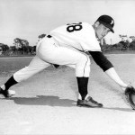 Pittsburgh Pirates left-handed first baseman Dale Long makes his first appearance as a catcher in an exhibition game against the minor league San Diego Padres.