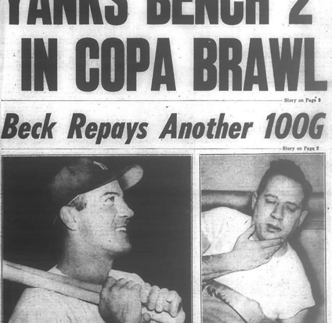 TheYankeestopKansas City, 3 – 0, behindBob Turley's four-hitshutout.Mickey Mantlehas a homer offAlex Kellner, the 11th time in his last 12 at-bats he's reached base safely. That night a group of Yankees celebrateBilly Martin's 29th birthday in raucous fashion. An ensuing fight atManhattan's Copacabana Club leads to $5,500 in fines and the eventual trade of Billy to Kansas City.Hank Bauerallegedly starts the fight by hitting a patron, although Bauer denies it. The Yanks fineWhitey Ford, Bauer,Yogi Berra, Mantle and Martin $1,000 each andJohnny Kucks$500.