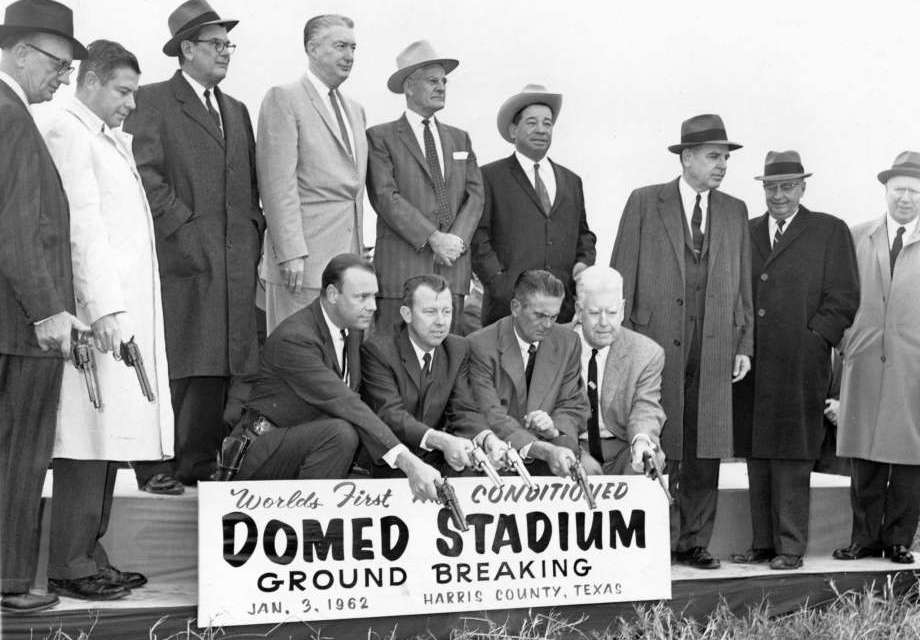 Ground is broken for the Astrodome. The ceremony includes the firing of pistols into the ground by team, city and county officials.