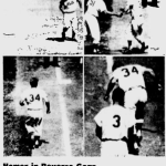 Jimmy Piersall celebrates his 100th career home run by running the bases backward